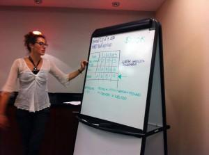 AMERIGO alum, Camilla Manca, presents her business plan to her peers for review and critique.
