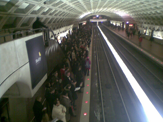 Crowded metro platform in DC - via Brownpau/Flicrk