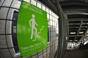 public sign encouraging stairs for exercise
